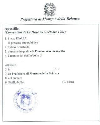 Italian Apostille Stamp