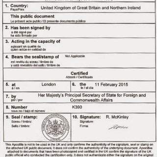 example of a UK Apostille